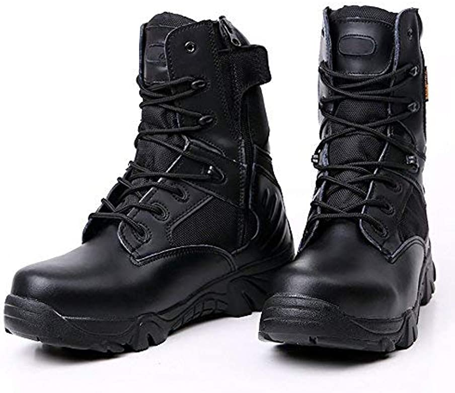 b4834f8cc91 Men's Military Tactical Boots Waterproof Hiking Combat Boots Army Comp Toe  Side Zip Work Boots
