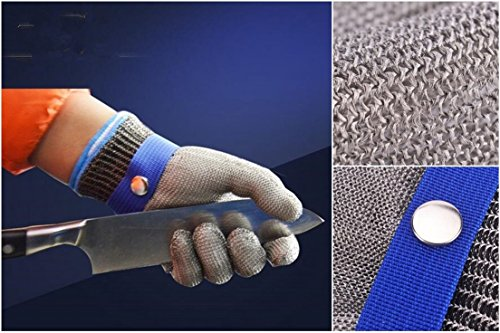 Royal Opera House Costume (1-Sets (Not a Pair) Famous Popular Hot Stainless Steel Glove Anti-Scratch Wire Mesh High Strength Metal Color Silver-Blue Size XXL)