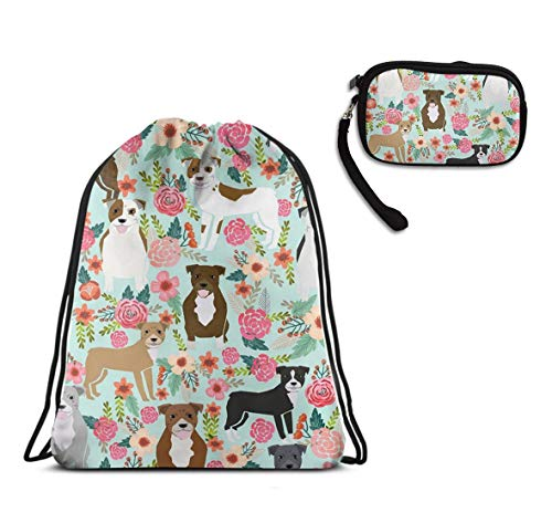 Swim Drawstring Backpack, Lightweight Tote Cinch Sack - Floral Pitbull Drawstring Rucksack, Large Water Resistant Tote Cinch Sack + Clutch Wallet Card -