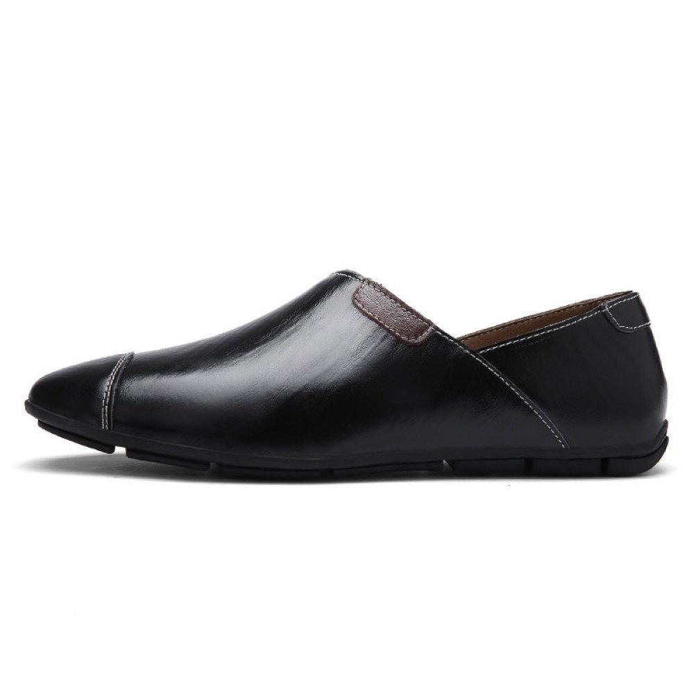 Zapatos De Cuero para Hombres Zapatos De Playa Zapatos Casuales Zapatos Perezosos De Moda 44 EU|Black