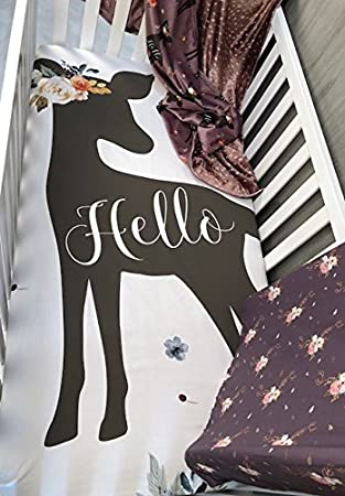 Fawn Fitted Crib Sheet Deer Baby Bedding Set Changing Pad Cover Buck Toddler Bed Sheets Infant Woodland Nursery Bedding Doe Blanket