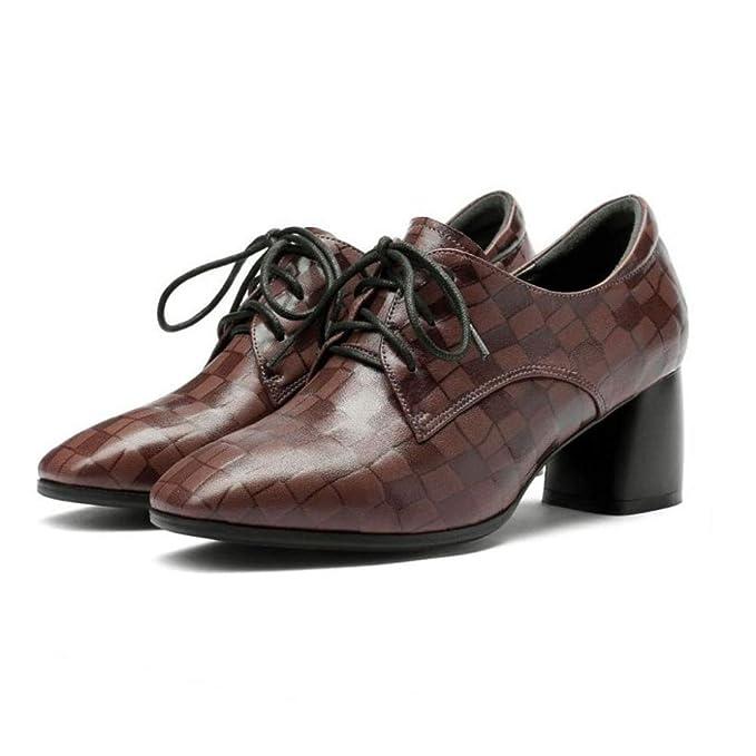 RegbKing Zapatos De Cuero Reales Para Damas Con Cordones Mocasines De Tacón Medio Zapatos Casuales Inteligentes Brogue: Amazon.es: Ropa y accesorios
