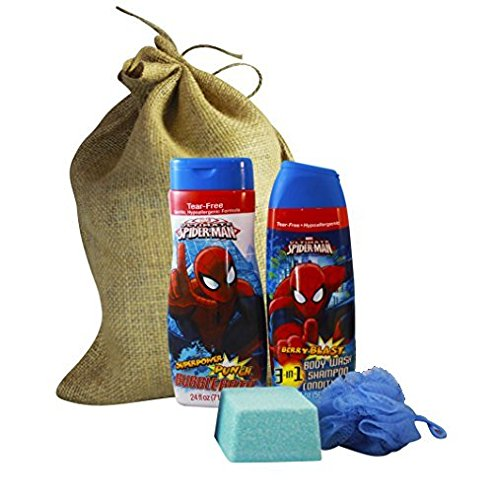 Spider Man Gifts Set Featuring 3 in 1 Body Wash Shampoo Conditioner, Mega Bomb Giant Fizzy Bath Bomb w/ Surprise Bath Squirter Toy Inside, and Body Pouf