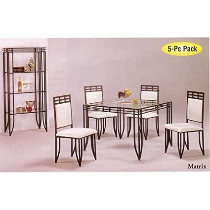 Amazon Com 5pc Matrix Style Black Wrought Iron Square Dining Table