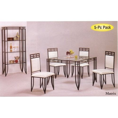 Amazon.com - 5pc Matrix Style Black Wrought Iron Square Dining Table ...