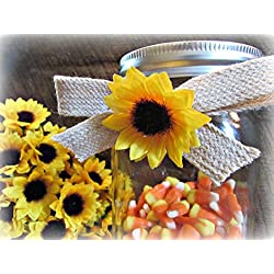 Sunflower Burlap Bows- Mason Jar Decor- DIY Centerpiece for Wedding or Kitchen Dining Room Table