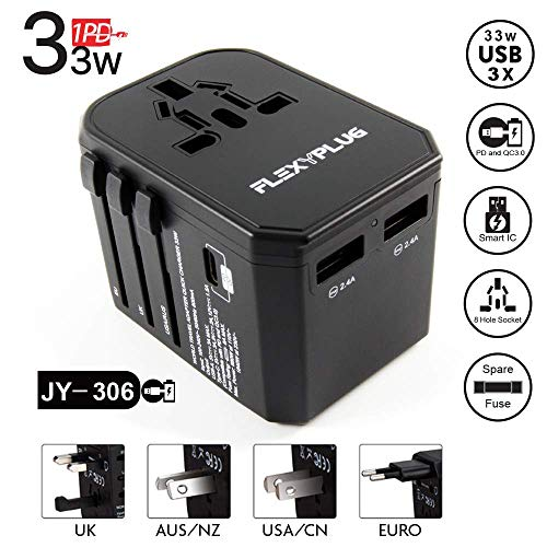 International Travel Power Plug Adapter: 3 USB Ports 33W, 8A Universal Outlet Charger with AC Plug, Small Multi Function Adaptor with 18W PD Smart Charging for Phone, Tablet, Laptop - EU, UK, AUS, USA