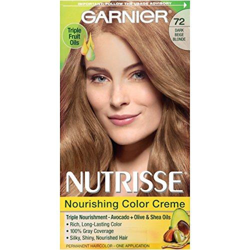 Garnier Nutrisse Nourishing Hair Color Creme, 72 Dark Beige Blonde (Sweet Latte)  (Packaging May (Latte Shade)