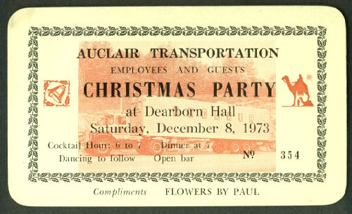 Auclair Transportation Employee Christmas Party ticket 1973 Manchester NH (Christmas Nh Manchester)