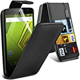 ONX3® ( Black ) Motorola Moto X Play Case Custom Made PU Leather Flip With Credit / Debit Card Slot Case Skin Cover With LCD Screen Protector Guard, Polishing Cloth & Mini Retractable Stylus Pen