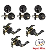 Dynasty Hardware V-CP-HER-12P, Heritage Front Door Entry Lever Lockset and Single Cylinder Deadbolt Combination Set, Aged Oil Rubbed Bronze - (3 PACK) - Keyed Alike