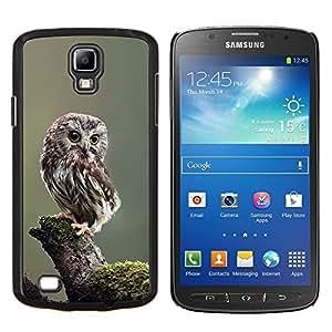 Búho del bebé Plumas lindo borrosa Naturaleza- Metal de aluminio y de plástico duro Caja del teléfono - Negro - Samsung i9295 Galaxy S4 Active / i537 (NOT S4)