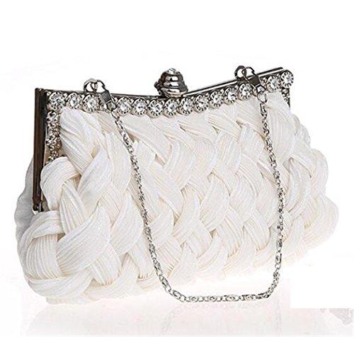 ISHOW para mujer personalizada boda de punto tejida a mano Cluthes bolsos Monederos blanco