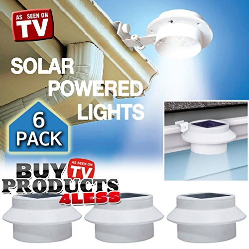 6 Pack Deal – Outdoor Solar Gutter LED Lights – White Sun Power Smart LED Solar Gutter Night Security Light