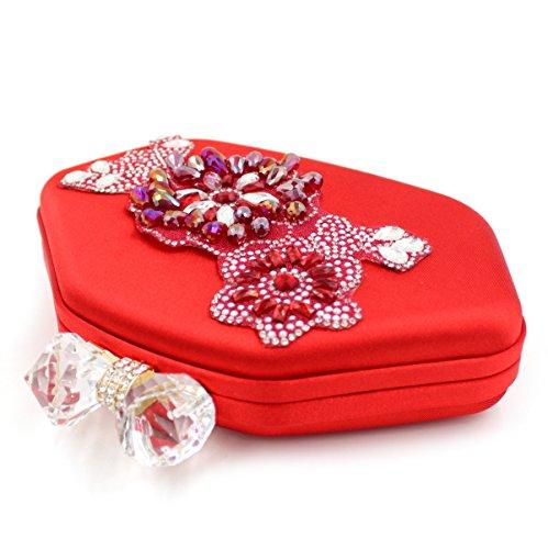 Cristal Chief Bolsas Chirrupy Red Mujer Noche Embrague Bolsos Para qgqPBwI
