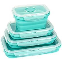 Collapsible Food Storage Containers - 4 Pack Silicone Bento Lunch Boxes, Insulated Food Containers - Reusable BPA-Free and Microwave Safe Lunch Containers, Teal