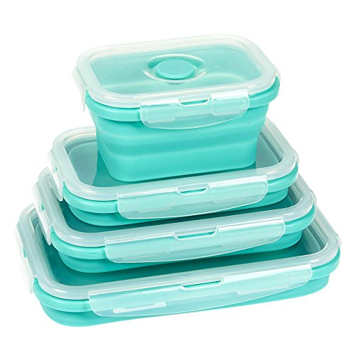 Juvale 4-Pack BPA Free Collapsible Silicone Food Storage Bento Lunch Box Meal Prep Containers, 4 Sizes