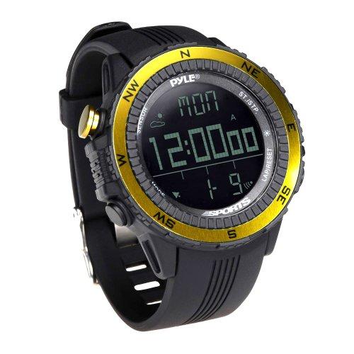 Digital Multifunction Sports Wrist Watch - Smart Fit Classic Men Women Sport Running Training Fitness Gear Tracker w/ Altimeter, Barometer, Compass, Timer, Weather Forecast - Pyle PSWWM82YL (Yellow) (Training Watch Men)