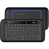 [2018 Updated Version Backlit] EVANPO Wireless Mini Keyboard with Full Screen Mouse Touchpad Rechargeable Combos Remote Control for PC, Pad, Google Android TV Box