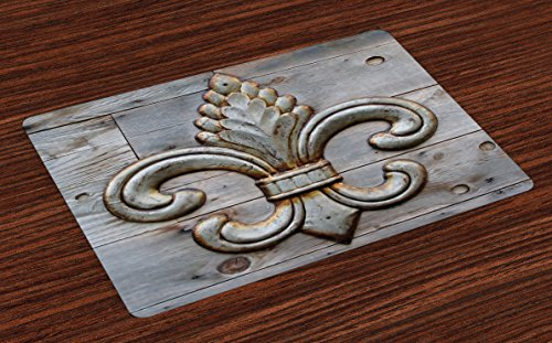 Ambesonne Fleur De Lis Place Mats Set of 4, Ancient Lily Symbol on Weathered Old Wooden Planks Historical Theme Image, Washable Fabric Placemats for Dining Room Kitchen Table Decor, Grey Brown