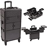 Sunrise I3664DMAB Black Diamond 3 Tiers Accordion Trays 4 Wheels Professional Rolling Aluminum Cosmetic Makeup Craft Storage Organizer Case and Multiple Expandable Trays