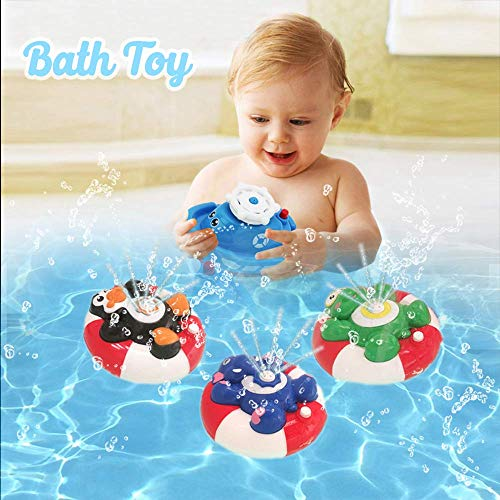 HANMUN Spray Water Baby Bath Toy Water Pump Electronic Spray Toy Float Rotate with Fountain Floating Bathtub Shower Bathroom Toy for Baby Toddler Infant Kid Party (Turtle)