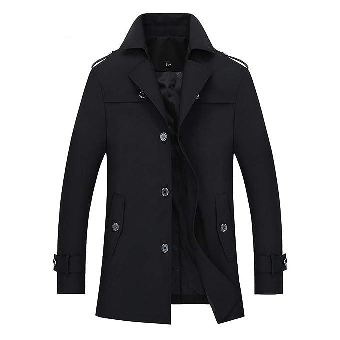 Trench Coat para Hombre Slim Fit Abrigos Largos Hombres Estilo británico Negocio Outwear Clásico Rompevientos Black