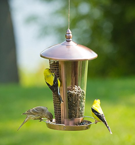 Pole Mount Seed Catcher Platform (Wild Bird Feeder Attract More Birds Perfect for Garden Decoration, Great Bird Feeders for Small Birds and Medium Size, Easy to Clean and Fill Bird Feeder Hanger Included Great Gift & Fun Idea! Copper)