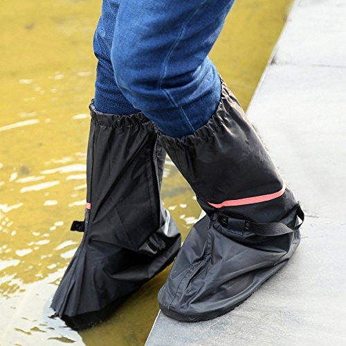 Shoe Covers,Women Men Non-slip Waterproof Zipper Rain Snow Shoes Boots Covers Reusable for Outdoor Camping Fishing Cycling Riding Bike Motorcycle Rain Suit Shoe Cover Protective Gear Travel Overshoes by Holiberty (Image #5)