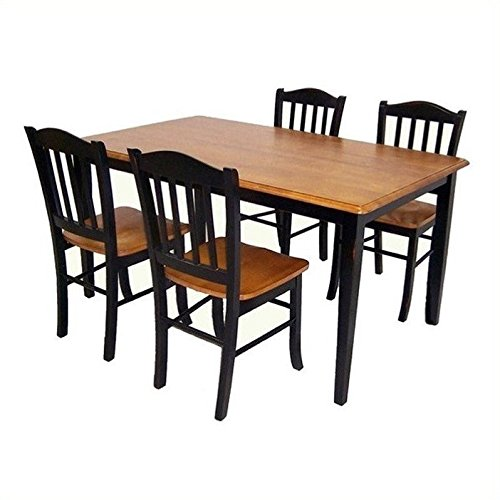 Boraam 80536 Shaker 5-Piece Dining Room Set, Black/Oak
