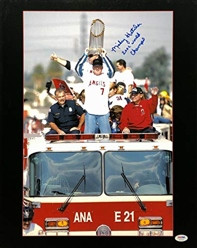 Mickey Hatcher Autographed Signed Memorabilia Anaheim Angels 16X20 Photograph 2002 World Champs PSA/DNA W27444