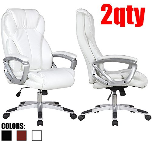 2xhome - Set of Two (2) - White - Deluxe Professional PU Leather Big Tall Ergonomic Office High Back Chair Manager Task Conference Executive Tilt Padded Arms