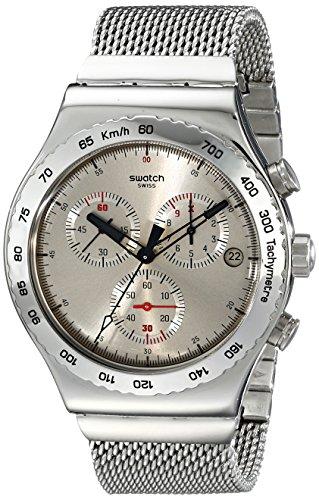 Swatch YVS405G Irony Silverish Chrono Silver Black Red Steel Band Men Watch (Chrono Swatch Watch)