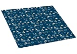 Drymate Medium Cat Litter Box Mat with Pawcasso Design, 16-Inch by 20-Inch, Dark Blue by Drymate
