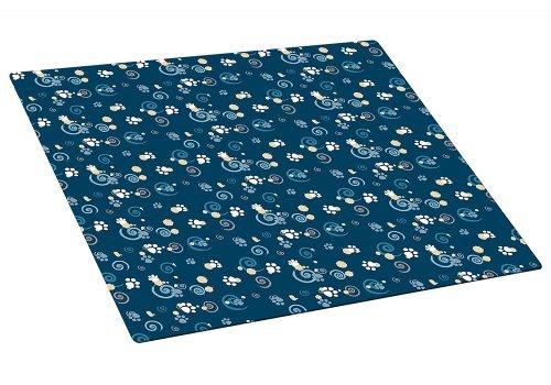 Drymate Medium Cat Litter Box Mat with Pawcasso Design, 16-Inch by 20-Inch, Dark Blue by Drymate