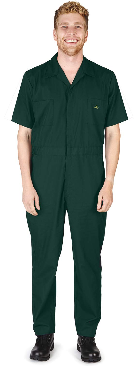 NATURAL WORKWEAR - Mens Regular and Big Sizes Short Sleeve Coverall, Green 40589-X-Small