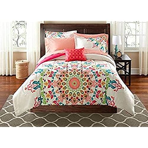 Good Teen Girls Twin/Twin XL Rainbow Unique Prism Pink Blue Green Colorful  Patten Bedding Set (6 Piece Bed In A Bag)