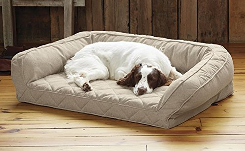 Orvis Heathered Bolster Dog Bed Cover/Medium, Heathered Khaki, Medium