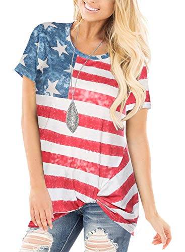Tie Knot Shot Sleeve American National Flag Printed Blouse Top Shirt Flag Day
