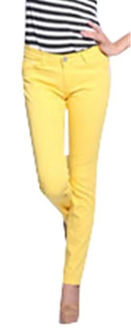 Betusline Women's Five Pocket Stretch Denim Pants Jeans Leggings Trousers Red