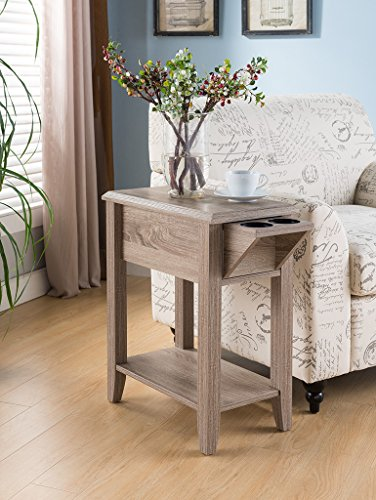 Smart Home Cup Holder Display Stand Chairside Table (Dark Taupe)