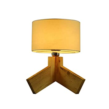 ACZZ Lámpara de mesa Escritorio de madera maciza Café Decoración ...