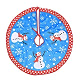 """35"""" Christmas Tree Skirt, Snowman Xmas Tree Skirt Holiday Decorations, Round Indoor Outdoor Mat for Christmas Holiday Party Decoration (Blue 1)"""