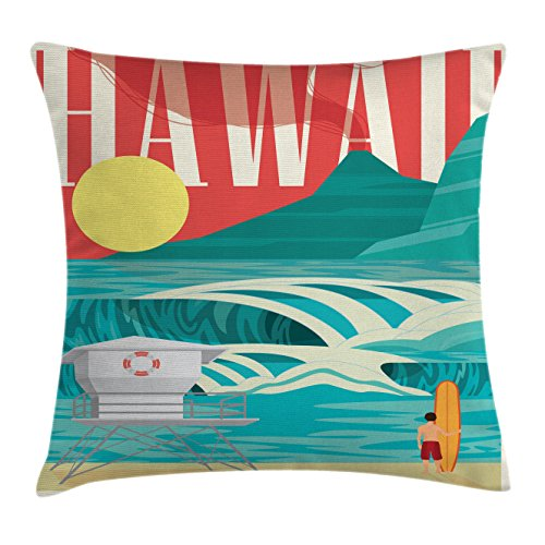 Ambesonne Hawaiian Throw Pillow Cushion Cover, Hawaii Sandy Coastline Sunny Day Surfboard Tropics Famous Honeymoon Destination, Decorative Square Accent Pillow Case, 26 X 26 inches, Sand Teal by Ambesonne