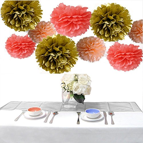 Somnr®Set of 9 Coral Peach Gold Wedding Flower Tissue Paper Pompoms Birthday Nursery Bridal Shower Hanging Party Decoration by Somnr (Gold Coral)