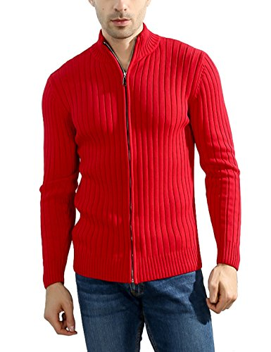 (Lentta Men's Long Sleeve Stand Collar Full Zip Up Solid Cotton Cardigan Sweater (Medium, Red) )