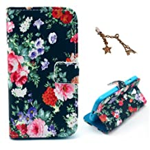 Uming Retro Colorful Pattern Print Leather case for Apple Iphone 5S 5G 5 IPhone5 IPhone5S SE IPhoneSE Apple5S Bloom Flower Rose in Black Dark Night PU Flip Leather Holster with Stand Stander Holder Hand Free Credit Card Slot Wallet Hasp Magnet Magnetic Button Buckle Shell Protective Mobile Cell Phone Case Cover Bag + 1 x Anti Dust Plug - Black Bloom