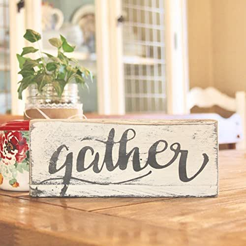 GATHER small wood shelf sitter sign, farmhouse table sign, fixer upper decor, rustic decor, stand alone sign, kitchen, living, mini fall wood sign