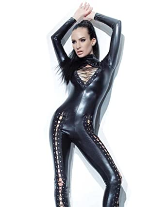 f76053af8d Amazon.com  Fashion Queen Women Sexy Catsuit Black Faux Leather Bodysuit  Legs Chest Lace Up DS Costume  Clothing