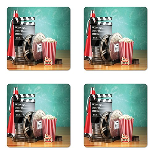 Themed Drink Tickets - Ambesonne Movie Theater Coaster Set of Four, Production Theme 3D Film Reels Clapperboard Tickets Popcorn and Megaphone, Square Hardboard Gloss Coasters for Drinks, Multicolor